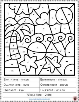 Music Lessons Music Education Music Worksheets Color By Music Notes And Rests Music Theory Music Coloring Music Coloring Sheets Music Lessons For Kids