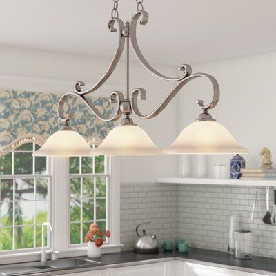 Andover Mills Macalla 3 Light Kitchen Island Linear Pendant Finish Brushed Nickel Kitchen Lighting Kitchen Island Lighting Kitchen Island Pendants