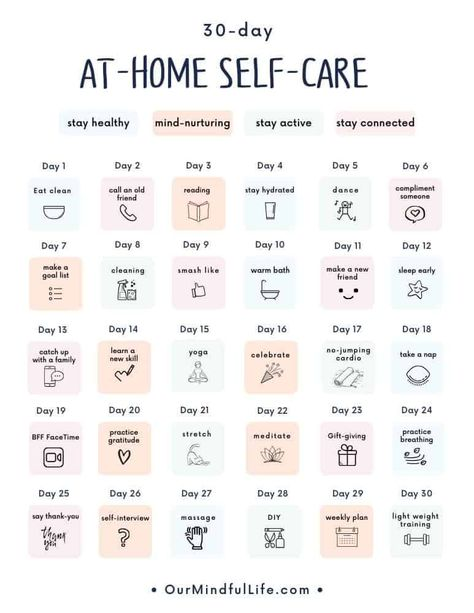 30-day at home self-care calendar - OurMindfulLife.com / Stay in, feel good with this free printable 30-day at-home self-care challenge.