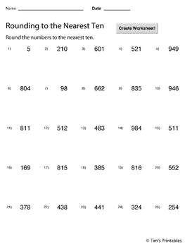 Rounding To The Nearest 10 Worksheet Maker Create Infinite Math