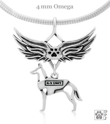 Sterling Silver K 9 Unit Memorial Necklace W Vest On Body New