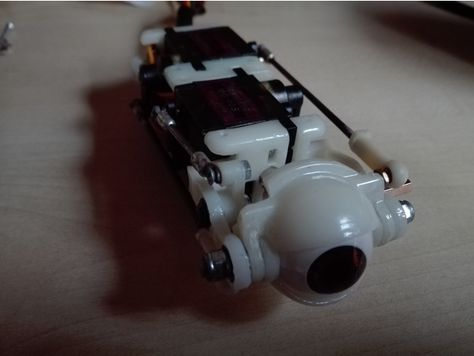 I designed a modular animatronic eye with commonly available parts. The eye module has up/down and left/ right movement as well as individually contro