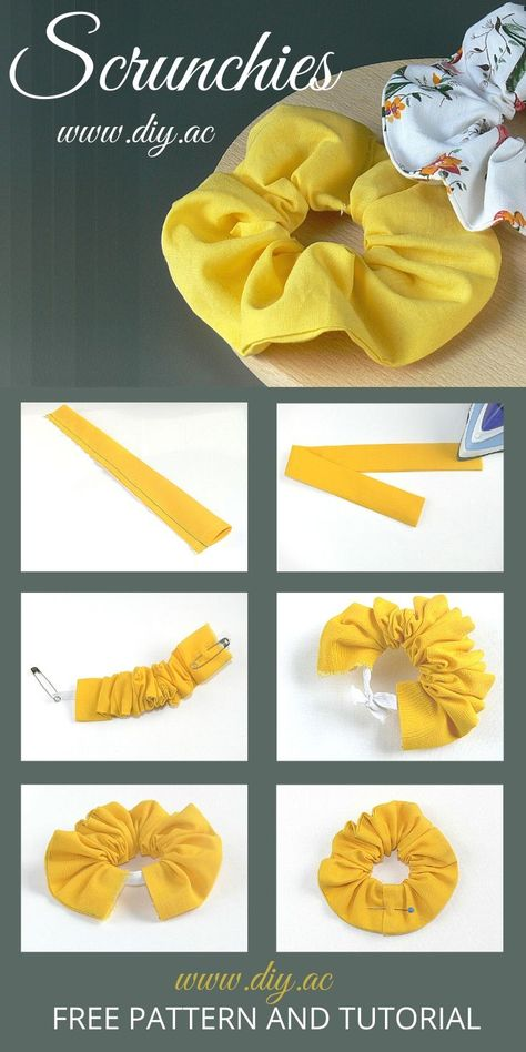 DIY Free Sewing Pattern for Beginners Scrunchies Diy Hair Scrunchies, How To Make Scrunchies, Diy Hair Bows, Easy Sewing Projects, Sewing Projects For Beginners, Sewing Tutorials, Sewing Crafts, Sewing Diy, Sewing Machine Projects