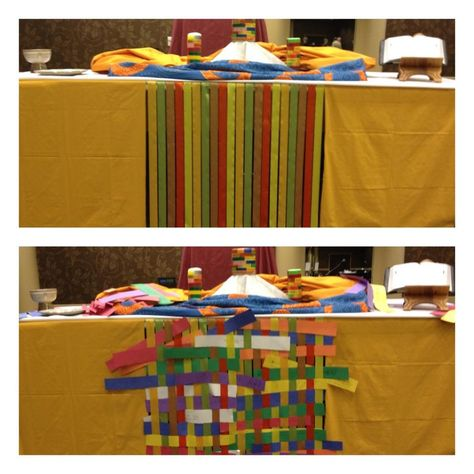 Wrote prayers on paper strips and weaved them in a ribbon prayer loom.