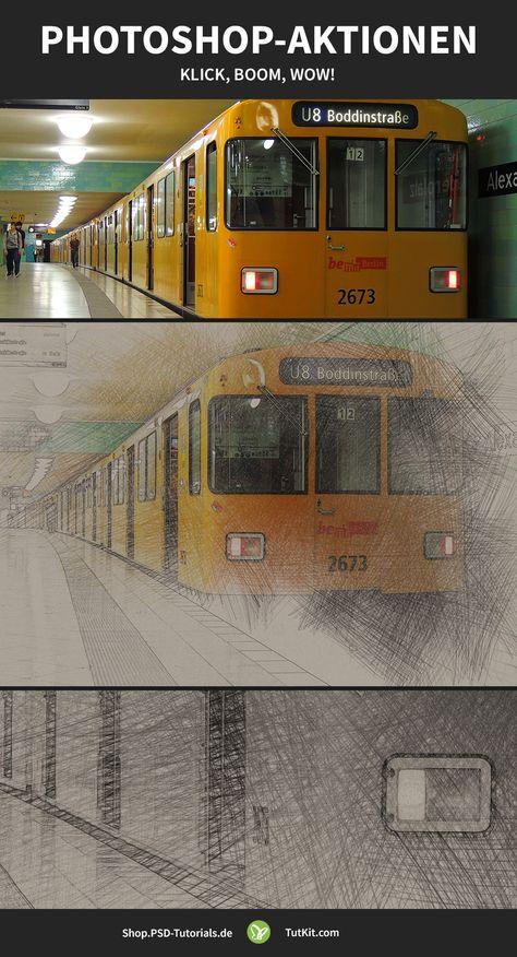 Photoshop-Aktionen: Feuer malen, Bleistiftzeichnung, Doppelbelichtung