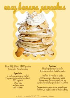 Aunt jemima pancake recipe for 3 pancakes blog dandk ings 2 small very ripe bananas mashed cups aunt jemima original pancake mix 1 3 milk ccuart Images