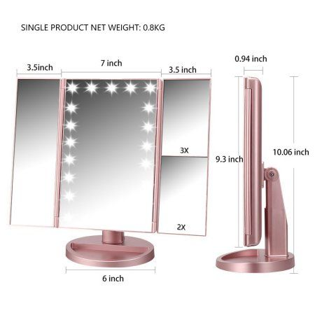 Easehold Lighted Vanity Mirror Magnifiers Tri Fold Three Panel