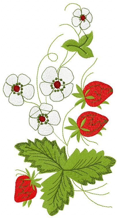 Strawberry free embroidery - Flowers free machine embroidery