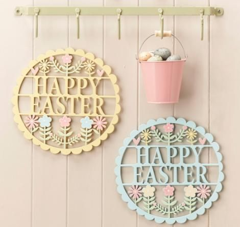 Easter 7 pinterest gisela graham pastel happy easter wood fretwork plaque 600 a great range of negle Image collections