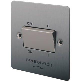 Lap 1 Gang 10a 3 Pole Fan Isolator Switch Brushed Stainless Steel Brushed Stainless Steel Fan Stainless Steel