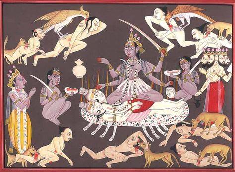 Kali, Mahakali or Shmashana-Kali, Tantra Miniature Painting On Paper