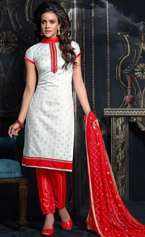 $27.51Off White Chanderi Churidar Suit 56588