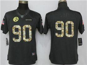 the latest e55bd 9124c Pittsburgh Steelers #90 T.J. Watt Anthracite Women's Salute ...