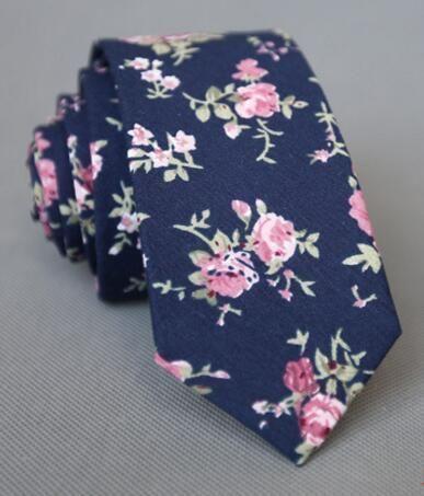 RBOCOTT Floral Ties For Men Printed Cotton Tie Mens Ties 6cm Slim Neck Tie Skinn