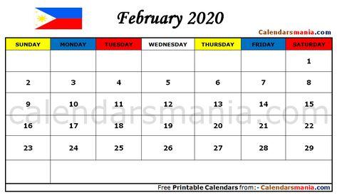 February 2020 Calendar Philippines Calendar Calendar Printables