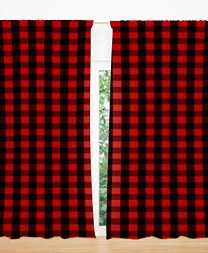 Alltot Red And Black Buffalo Plaid Curtain Panels Set 84 By Handmade In The Usa Best Wrought Iron Patio Furniture Reviews Plaid Curtains Buffalo Plaid Cu