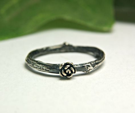 Black Rose Sterling Twig Band Silver by TazziesCustomJewelry