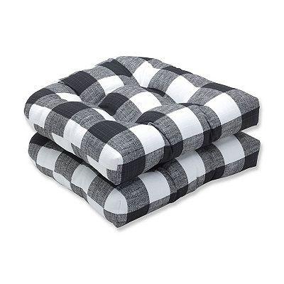 Black Buffalo Check Wicker Seat Cushions Set Of 2 Outdoor Seat Cushions Black Pillows Outdoor Rocking Chair Cushions