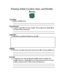 Chemical Bonding Worksheet Covalent