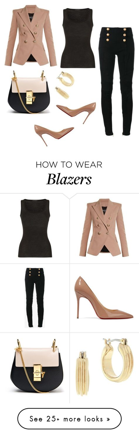 """""""Untitled #919"""" by crazybookladysuzejn on Polyvore featuring Balmain, Chloé, BCBGeneration and Christian Louboutin"""