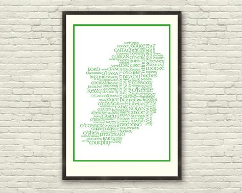 Surnames of Ireland Map  Unique A4 Print Irish by PhotoAndGraphics, $14.00