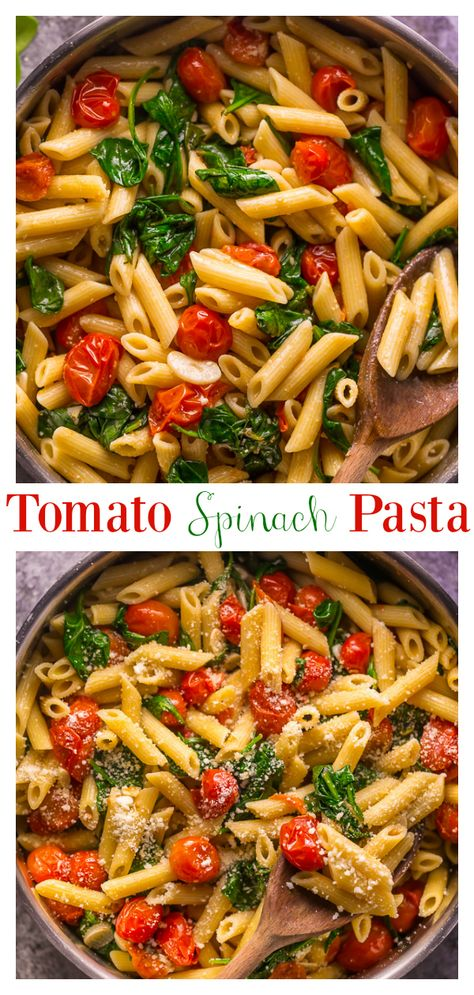 Say hello to my latest dinner obsession: Easy Tomato and Spinach Pasta! Loaded with juicy cherry tomatoes, fresh spinach, olive oil, and a kick of red pepper flakes! This quick and easy pasta recipe is fast, flavorful, and budget friendly! #easypastarecipes #pasta #pennepasta #tomatospinachpasta #spinachpasta #tomatopasta #veganpasta