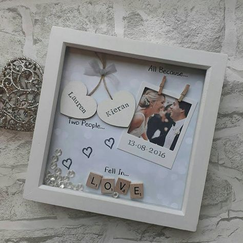 All because two people fell in love This handmade personalised scrabble art frame would make the perfect gift for your loved one. A beautiful keepsake to celebrate valentines, anniversarys, birthdays or just because! Made using scrabble letters and painted wooden hearts that are ready