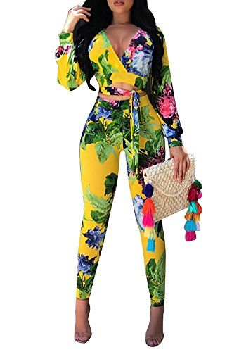 Women Long Sleeve Print Bodycon Pants Party Jumpsuit Rompers