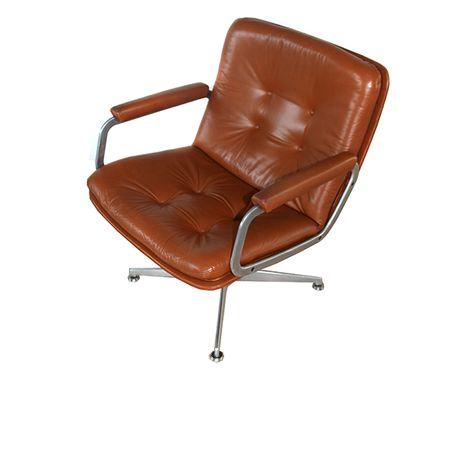 Artifort Geoffrey Harcourt Bureaustoel.Easy Chair Geoffrey Harcourt Artifort Bruin Leder Stoel Design
