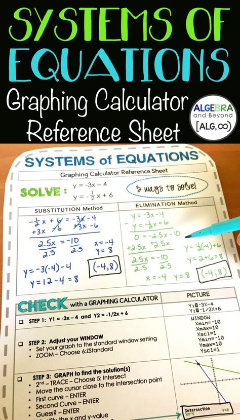 Systems Of Equations Graphing Calculator Reference Sheet Ti 84
