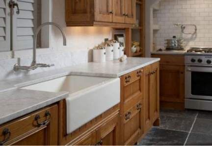 brown cabinets farmhouse sinks