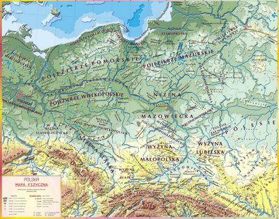 Mapa Fizyczna Polski Krainy Geograficzne Polski Mapa