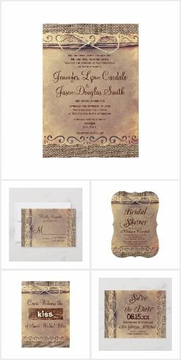 This Wedding Invitation Collection Features A Rustic Vintage Distressed Wedding Invitations Rustic Country Rustic Wedding Invitation Set Vintage Burlap Wedding