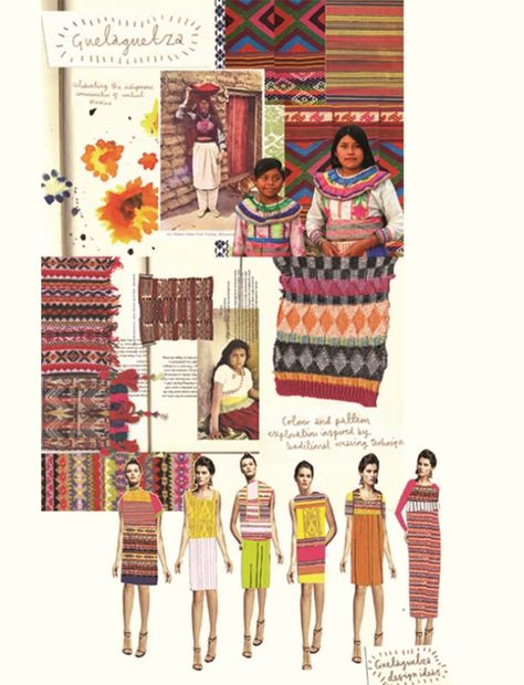 Fashion Sketchbook - knitwear design development with colours & patterns inspired by indigenous communities of Central Mexico - fashion design process; Design process from Mexican culture