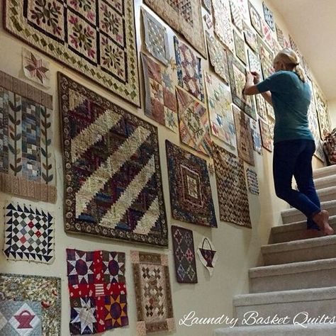 Edyta Sitar and Wall of Mini QuiltsYou can find Mini quilts and more on our website.Edyta Sitar and Wall of Mini Quilts Quilt Studio, Small Quilt Projects, Quilting Projects, Quilting Ideas, Quilt Patterns, Block Patterns, Small Quilts, Mini Quilts, Quilt Hangers
