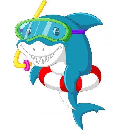 Tiburon Lindo De Dibujos Animados Con Anillo Inflable Ilustracion De Stock Cute Shark Shark Art Cartoon