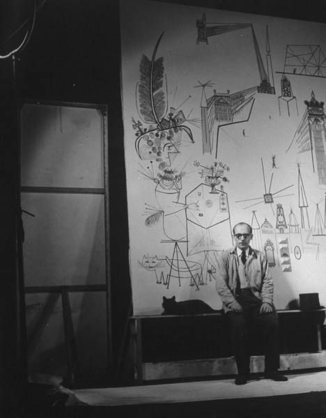 LIFE: Artist Saul Steinberg w. Gjon Mili's cat Blackie in front of mural he is painting for the Terrace Plaza Hotel in Cincinnati. (1947). S)