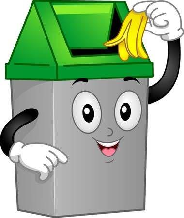 Ilustracion Mascot Con Un Bote De Basura Descarte Una Cascara De Platano Bote De Basura Murales Escolares Dibujos Para Ninos