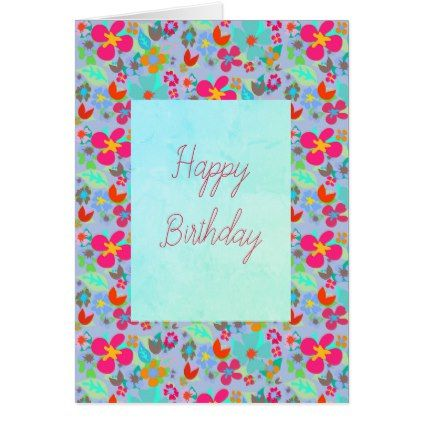Floral customizable happy birthday card birthday cards invitations floral customizable happy birthday card birthday cards invitations party diy personalize customize celebration bookmarktalkfo Gallery