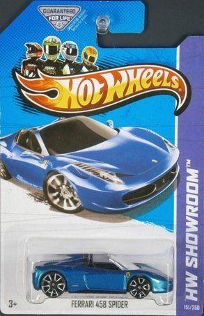 2014 Hot Wheels Hw City Ferrari 458 Italia Blue Mattel