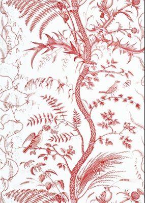 Bird /& Thistle Red FABRIC BRUNSCHWIG  FILS