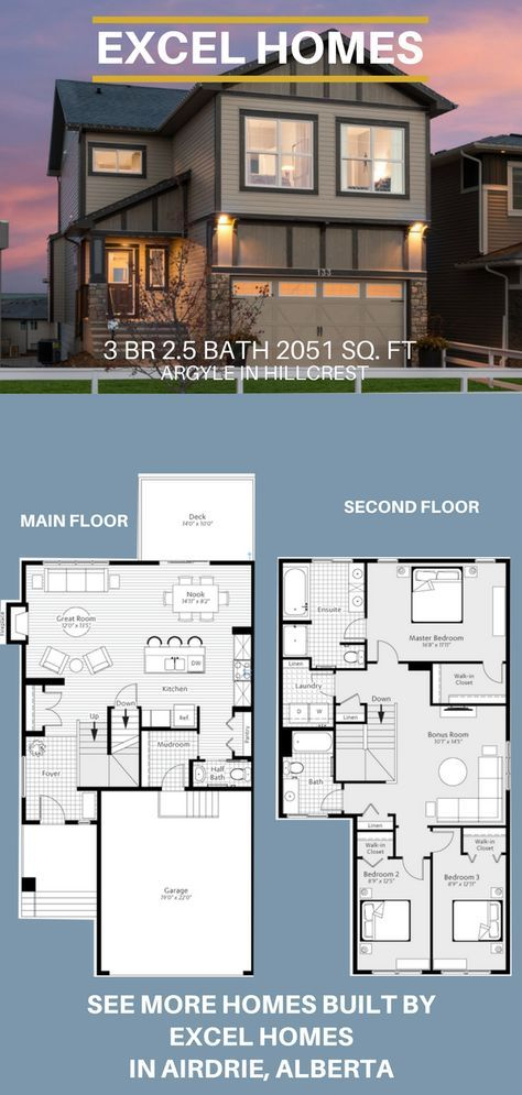 Argyle 2 Story Floor Plan 3 Bedroom 2 5 Bathroom 2 051 Sq Ft From Excel Homes Find More Show Homes T House Floor Plans Dream House Plans House Blueprints