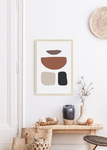 Abstract Shapes Art Print In 2020 Minimalistische Dekoration