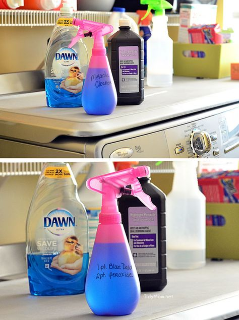 The ONLY stain remover you will ever need! at TidyMom.net This HOMEMADE MIRACLE CLEANER has worked on every stain from set in grease, to ye...