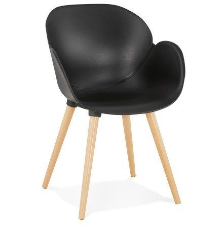 Chaise Design Scandinave Picata Noire Avec Pieds En Bois En 2020 Chaise Design Chaise Noire Chaise Moderne