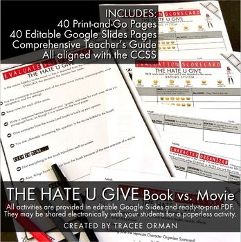The Hate U Give Movie Novel Comparison Activities Creative