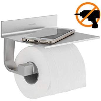 WC Toilettenpapierhalter mit Ablage Klopapierhalter Klorollenhalter ohne bohren