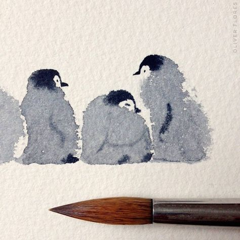 Drawings Ideas Cute Penguins Watercolor – Mexican illustrator, Oliver Flores - With a drop of watercolor, it's possible to give birth to the most adorable creatures. Mexican illustrator, Oliver Flores created a pack of baby penguins, Pinguin Illustration, Art Et Illustration, Watercolour Illustration, Art Inspo, Inspiration Art, Penguin Watercolor, Watercolor Animals, Christmas Watercolour, Painting & Drawing
