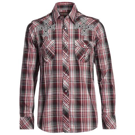 Rock & Roll Cowboy Satin Plaid Cross Shirt Snap Front