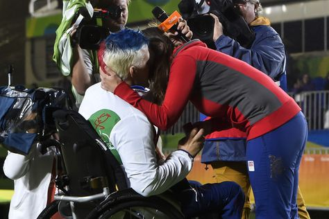 Silver medalist David Drahoninsky of the Czech Republic proposes to his girlfried Lida Fikarova after the medal ceremony for the Men's Individual Archery W1 Final during day 9 of the Rio 2016 Paralympic Games at Sambodromo on September 16, 2016 in Rio de Janeiro, Brazil.